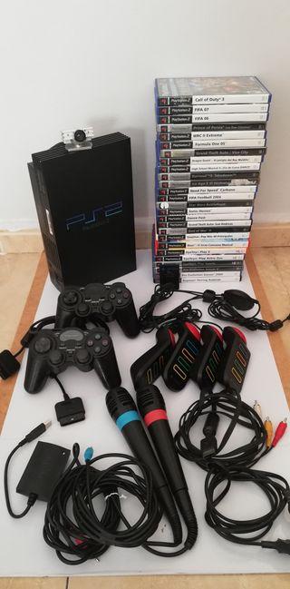 Lote Ps2 + juegos y accesorios
