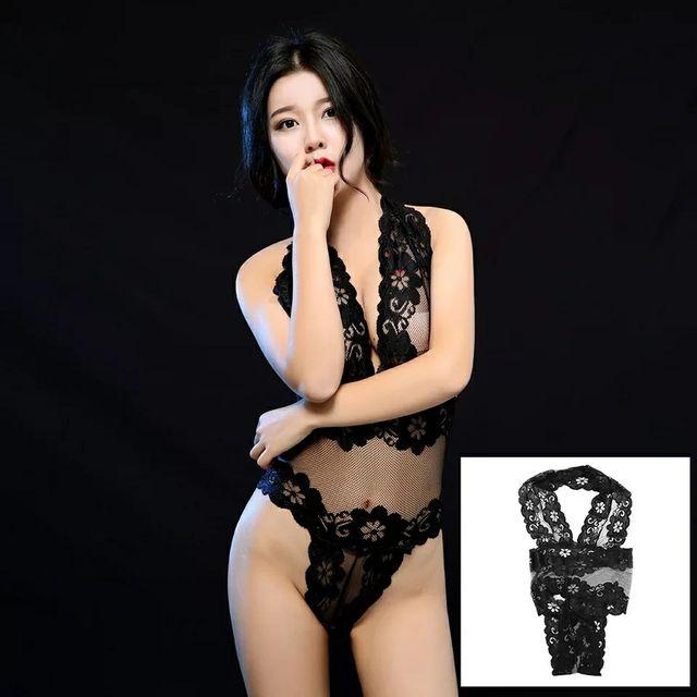 Body de encaje color negro talla unica
