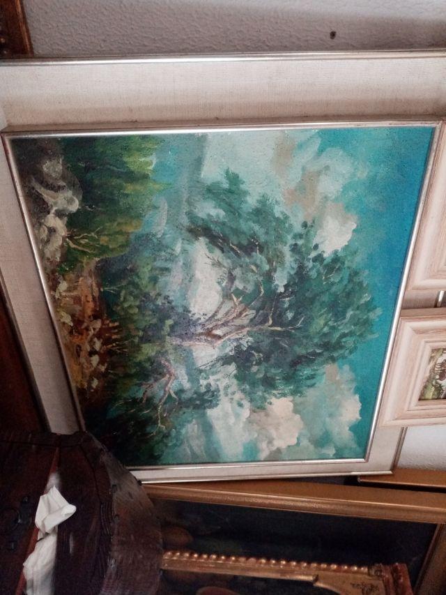 antiguo cuadro oleo lienzo