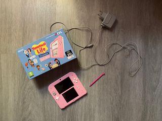 Nintendo 2Ds rosa y blanco con juego Tomodachi