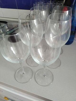 lote 6 copas de vino, altas, tamaño grande