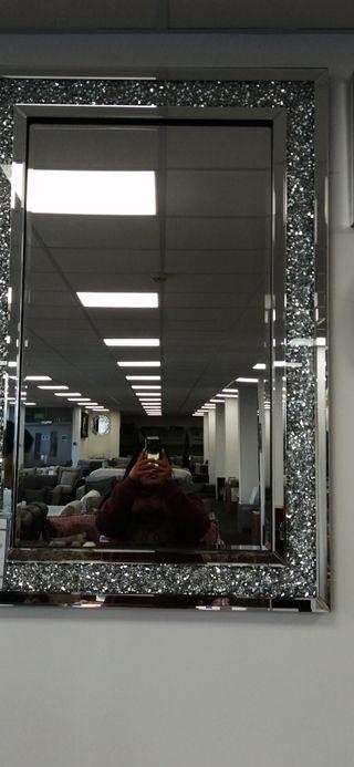 XL crushed diamond mirror