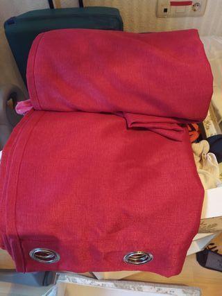 cortina granate roja lino