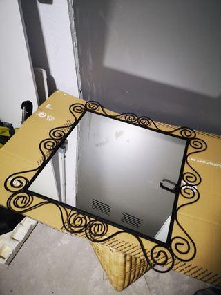 Espejo negro hierro forjado50x50