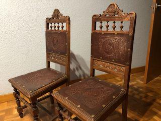 Juego de silla madera antigua