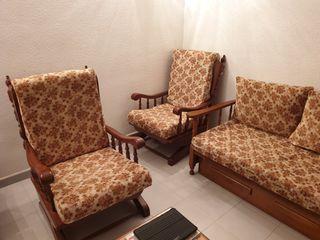 Conjunto de tres sillones - balancín y sofá