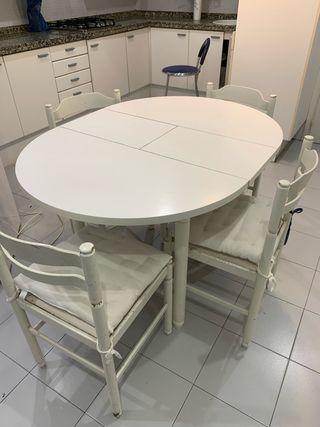 Mesa extensible cocina y sillas