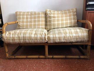 Sofa Bambú con cojines desenfundables