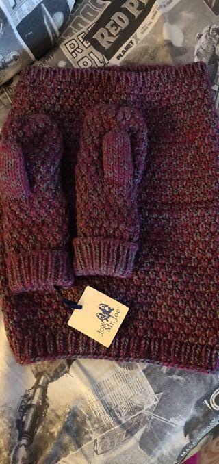 cuello bufanda con guantes de lana a juego y forro