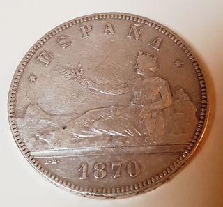 Moneda Plata 5 Ptas España 1870