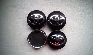4 Tapabujes centro rueda toyota prius negro 62mm.