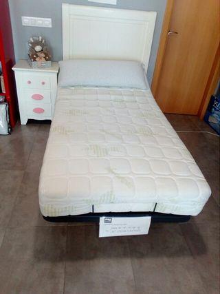 cama articulada a motor y colchón de látex.