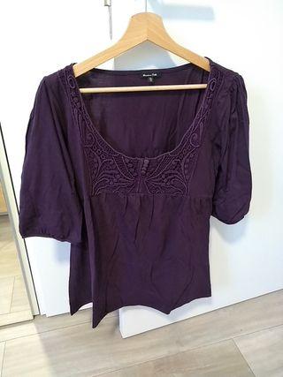 camiseta berenjena Massimo Dutti talla XL