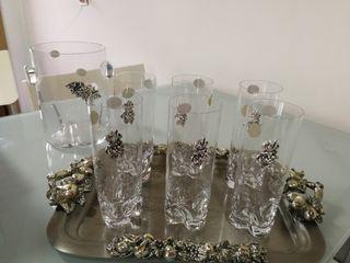 juego cubitera y vasos cristal bohemia