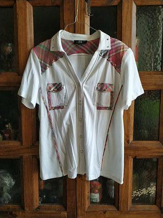 camisa de punto manga corta mujer