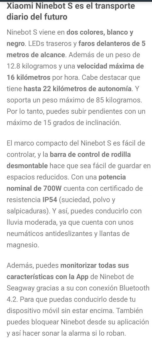 NUEVO EN CAJA PRECINTADA Ninebot S de Xiaomi