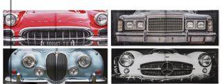 4 Cuadros lienzo coches antiguos