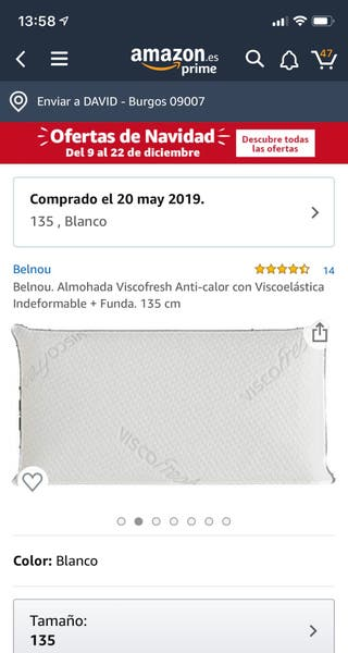 ALMOHADA VISCOFRESH ANTI CALOR viscoelastica+Funda