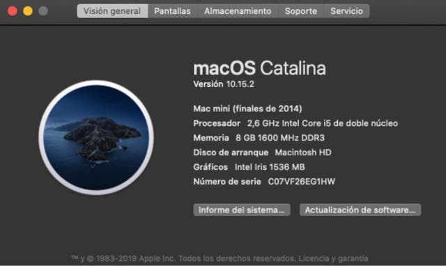 Mac Mini en su caja -Solo recogida local- Catalina
