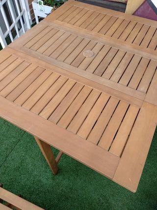 Mesa plegable de jardín/ terraza con sillas