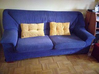 Sofá de tela de dos plazas,color azul