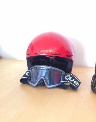 Casco infantil y gafas esquí