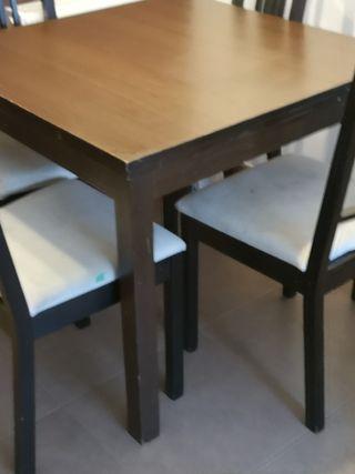 mesa extensible comedor y 4 sillas