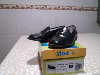 Zapato comunión niño piel azul marino