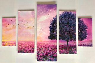 Mural de cinco cuadros. Campo de lavanda