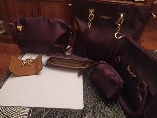 conjunto d 4 bolsos con cartera y llavero