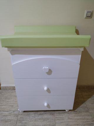Mueble cambiador bañera para bebe cómoda