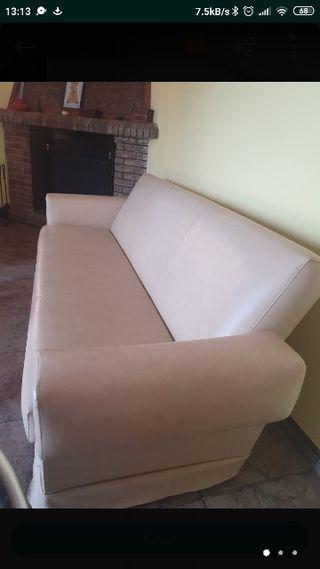 sofá piel blanco