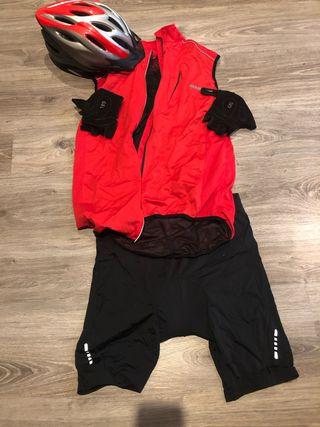 Ropa bicicleta talla L + guantes + casco talla L