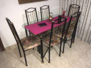 Mesa de Comedor de cristal con seis sillas