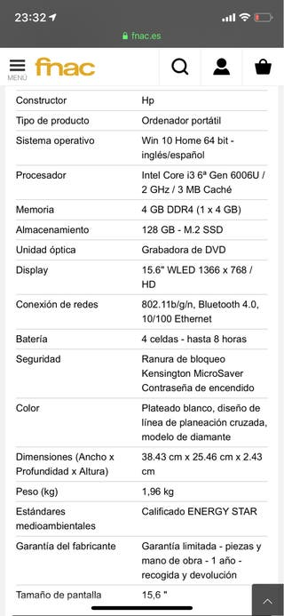 "Portatil HP 15"" Intel Core i3 Semi Nuevo"