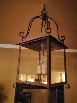 Lámpara techo farol forja