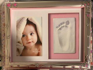 Marco de Plata para foto y huella de bebe