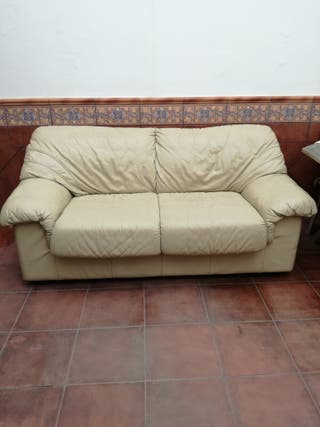 sofa de polipiel de dos plazas grandes
