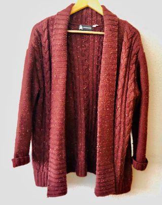 Chaqueta lana granate talla unica