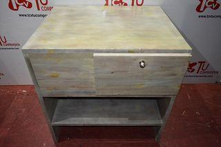 Mueble auxiliar madera verde con puerta