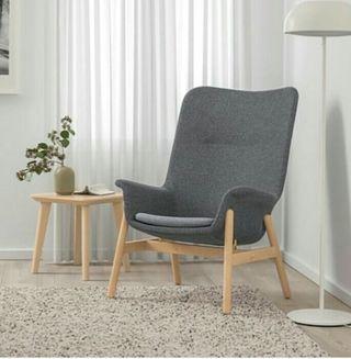 VEDBO. SILLON Ikea respaldo alto, Gunnared gris