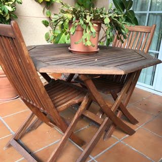 Juego de mesa y 6 sillas/sillones de terraza