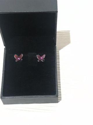 Pendientes joya mariposas plata
