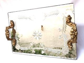 Antigua bandeja cristal