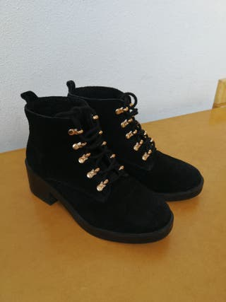 Botines piel 36 Stradivarius/ zapatos botas negras