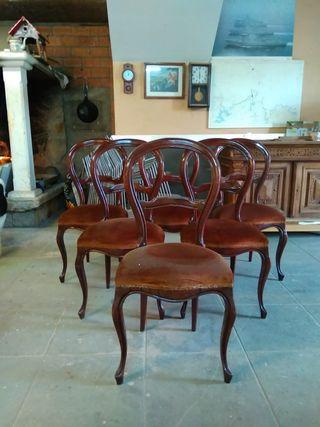 juego 6 sillas madera antiguas