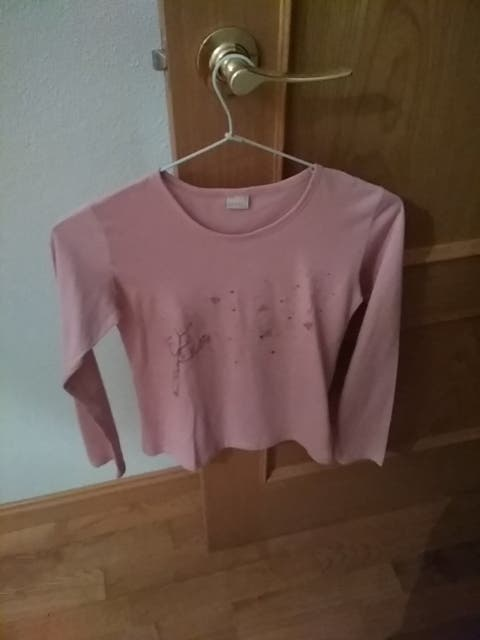 2 camisetas rosas niña. T 12.
