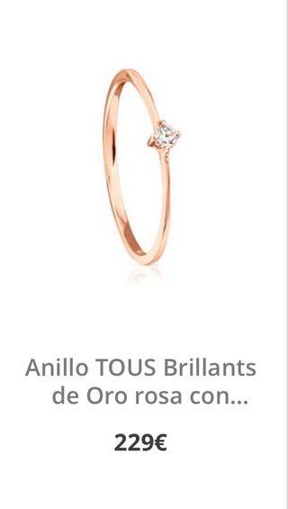 Anillo tous oro rosa diamante