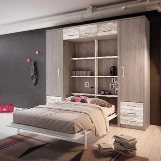 Composición cama abatible vertical matrimonio ybn