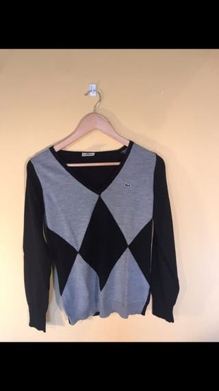 Jersey Lacoste mujer negro y gris